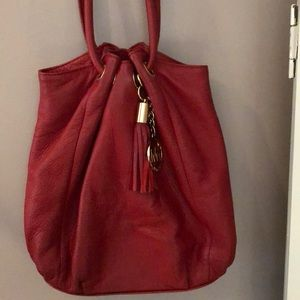 Michael Kors red leather bag